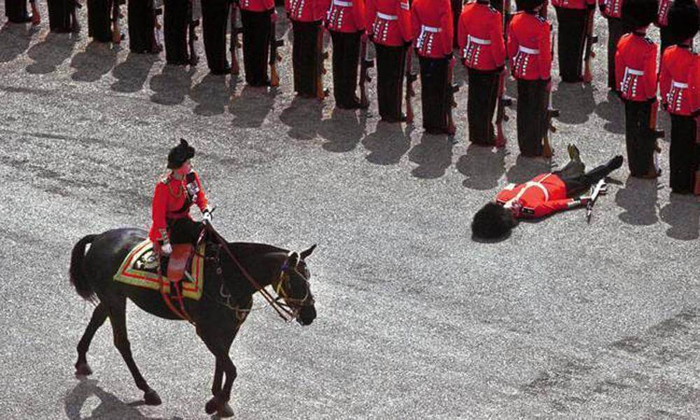 british military guard down