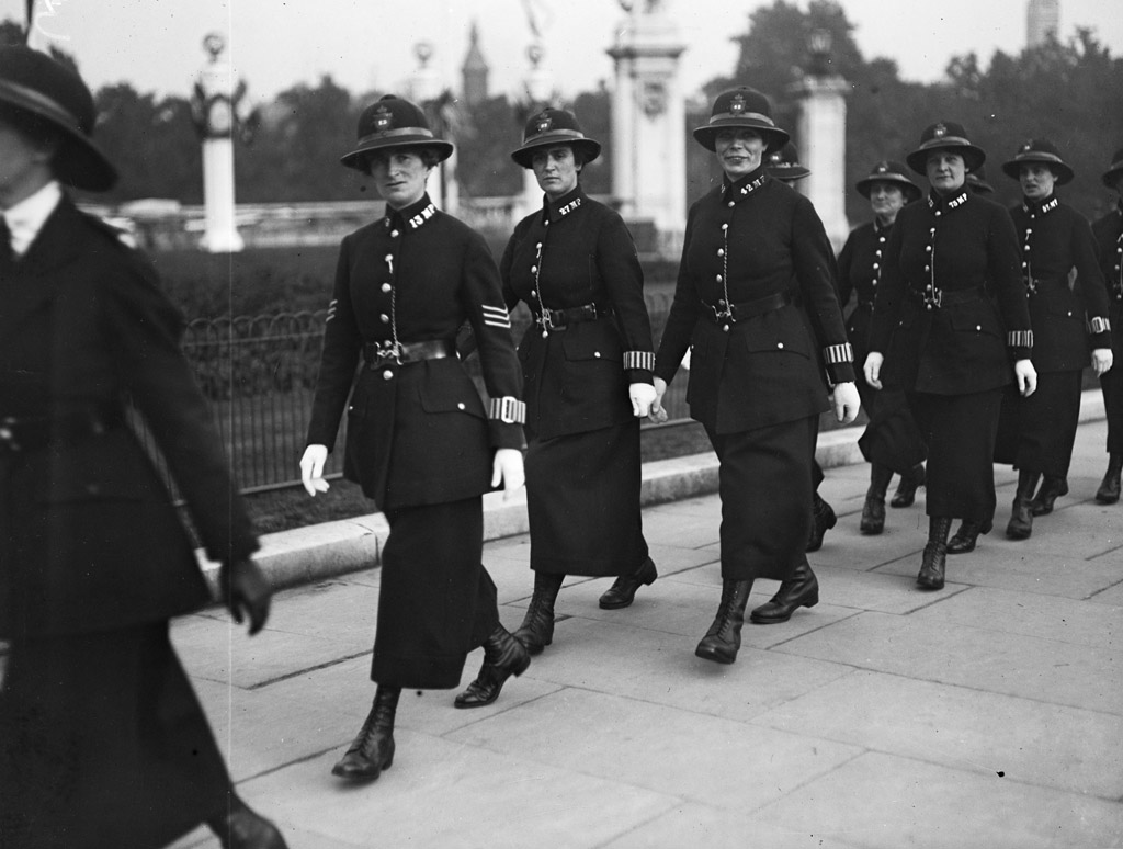women police force attending party for war workers