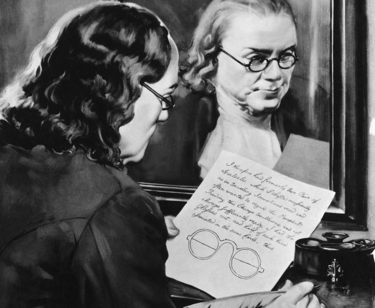 Illustration of Ben Franklin Holding Drawing of Bifocals