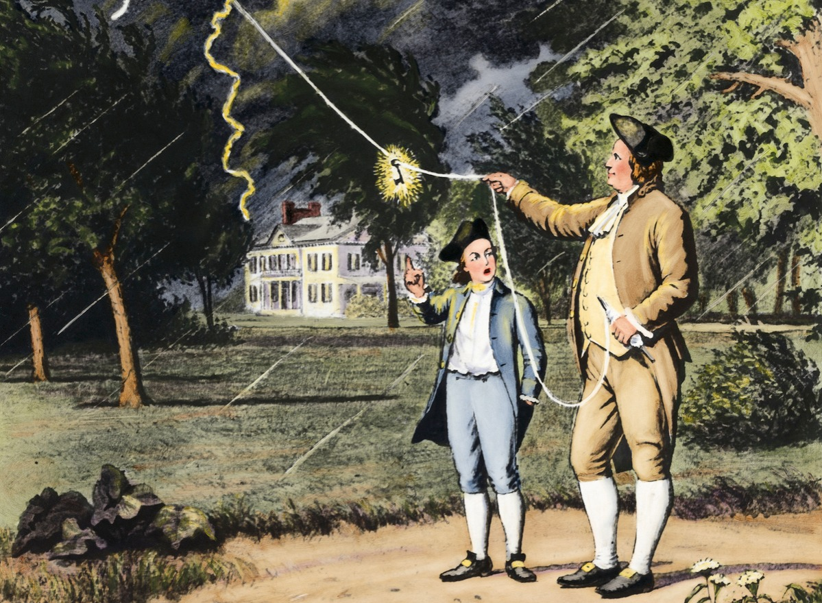Benjamin Franklin Getting Electricity from Lightening