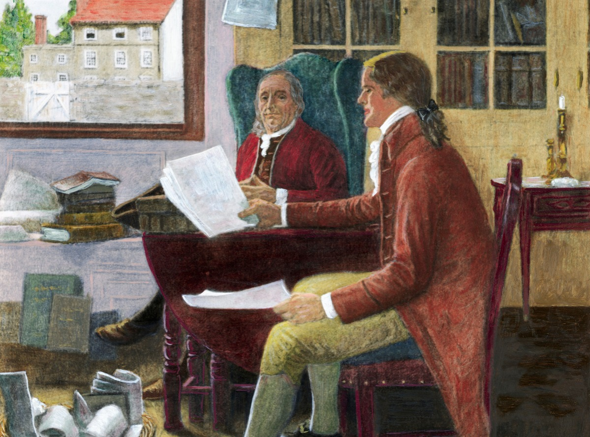 Thomas Jefferson Reading To Franklin by Clyde Osmer de Land
