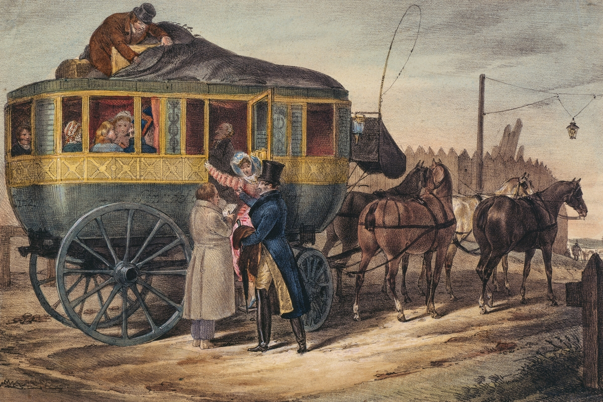 Departure of stagecoach, illustration, France