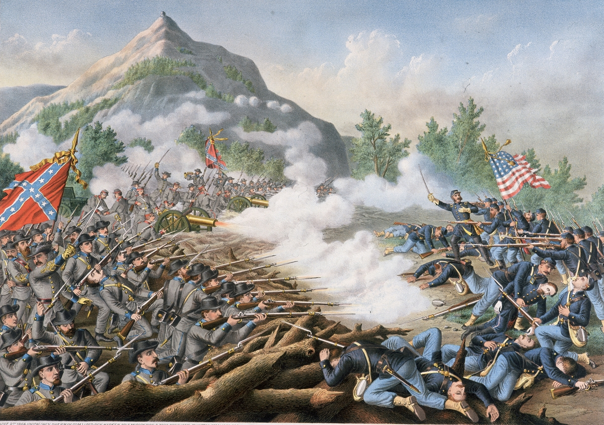 Kennesaw Mountain US Civil War 1861-65An 1891 color illustration The Atlanta Campaign