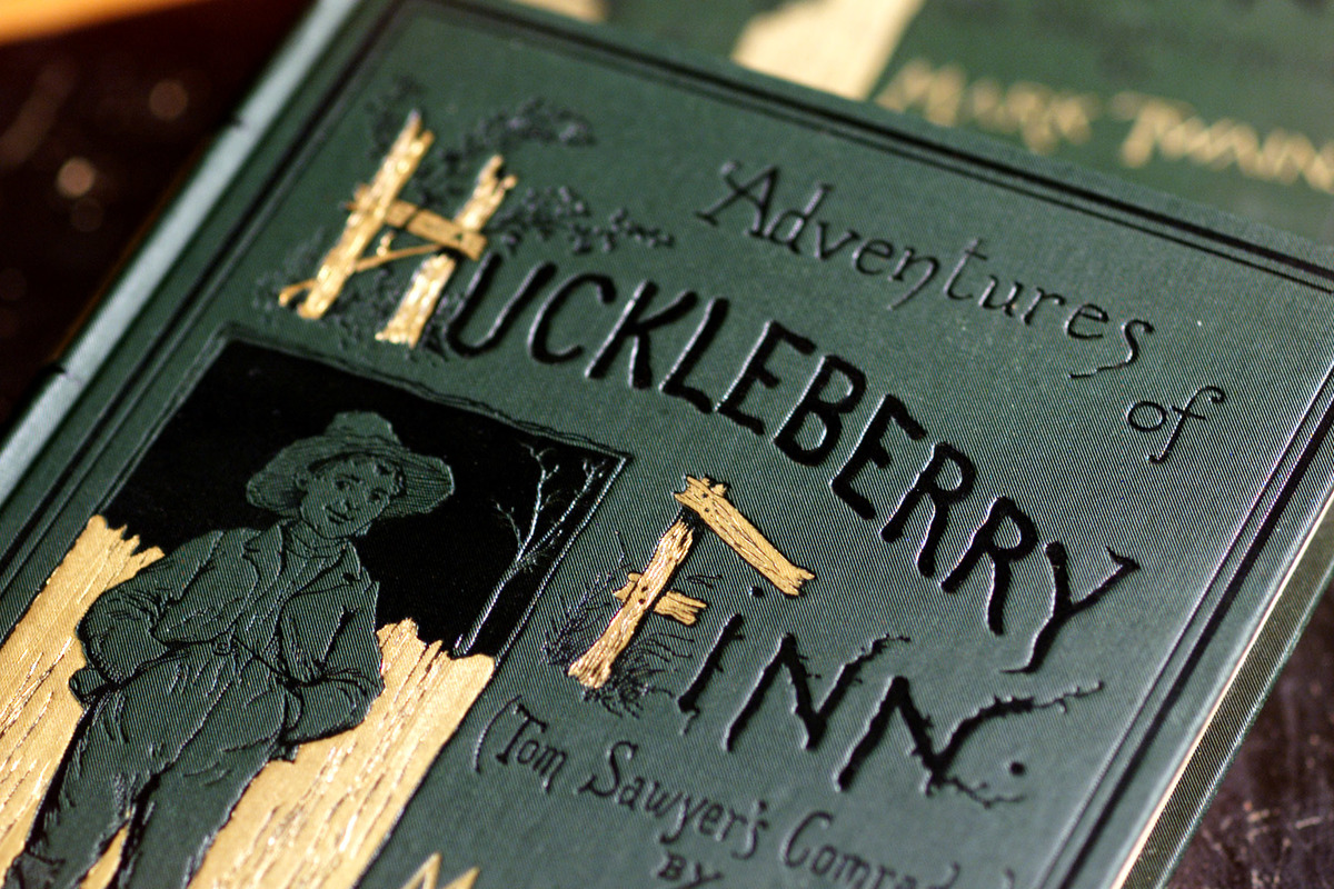 Cover of Adventures of Huckleberry Finn by Mark Twain. Bancroft Library