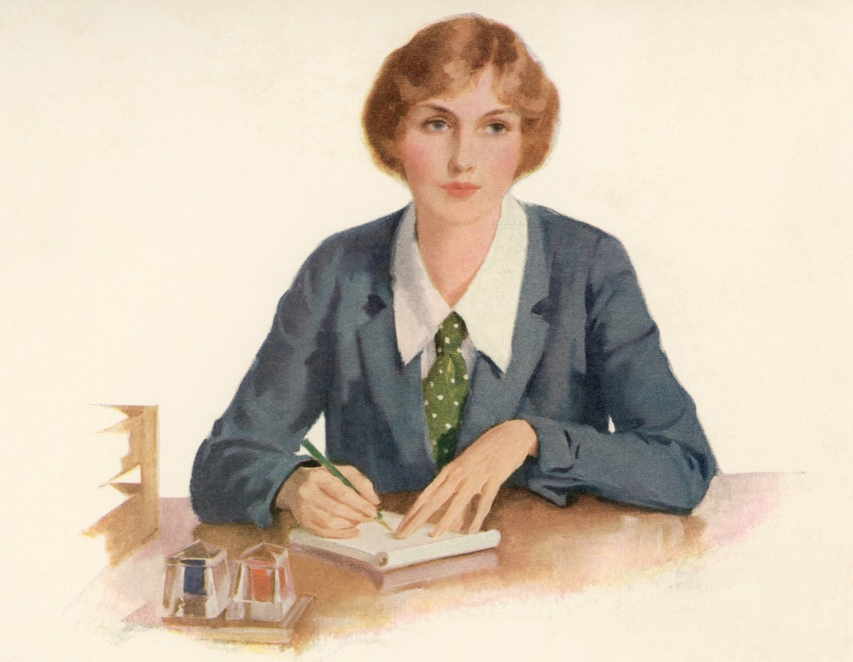 llustration of a woman office worker taking notes, 1928 women could not become lawyers 1920s