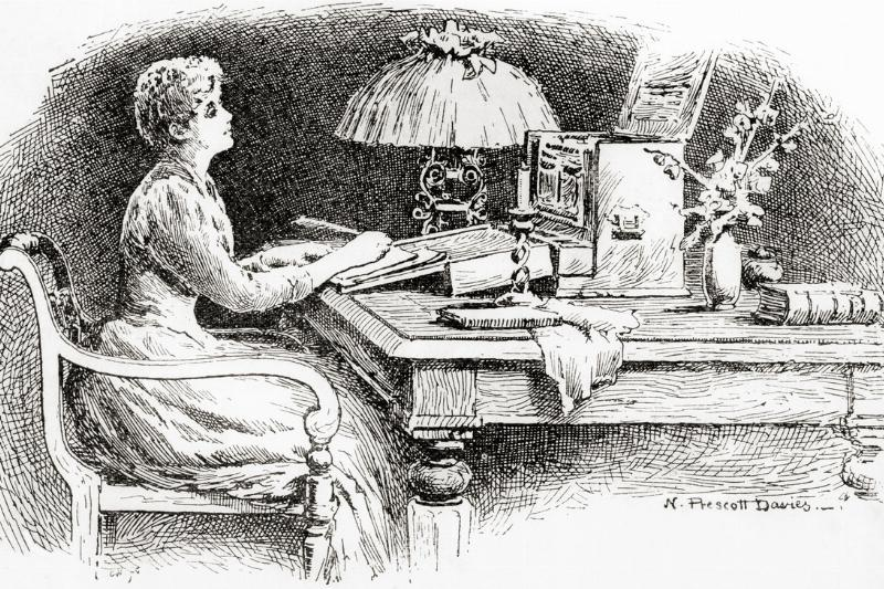 A woman writing a letter at a bureau in 1891