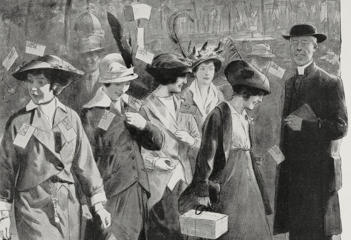 Young women along a street of Paris, France 1904