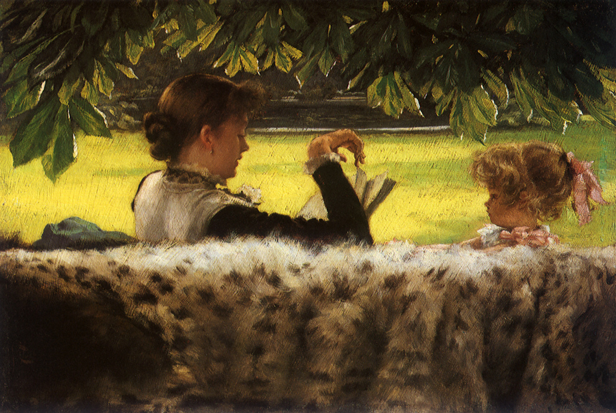 Reading a Story Tissot, James Jacques Joseph, 1878 .