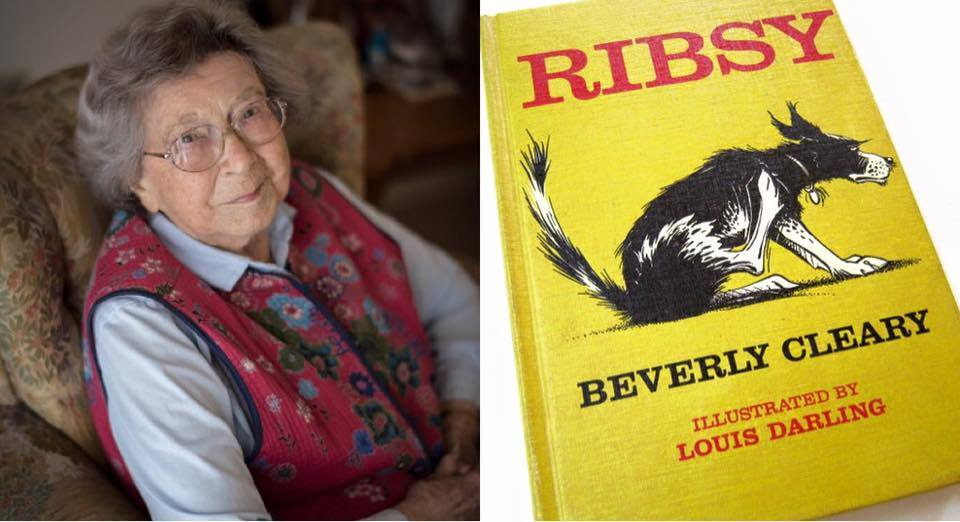 Beverly Cleary next to a copy of Ribsy