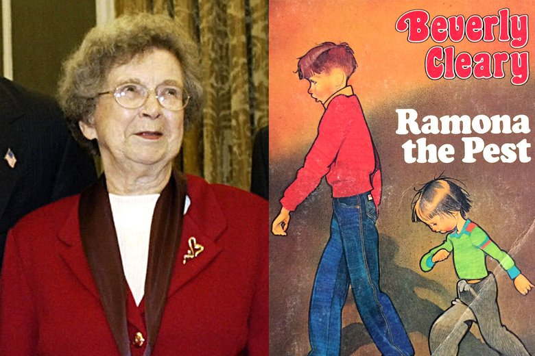 Beverly Cleary next to one of her books