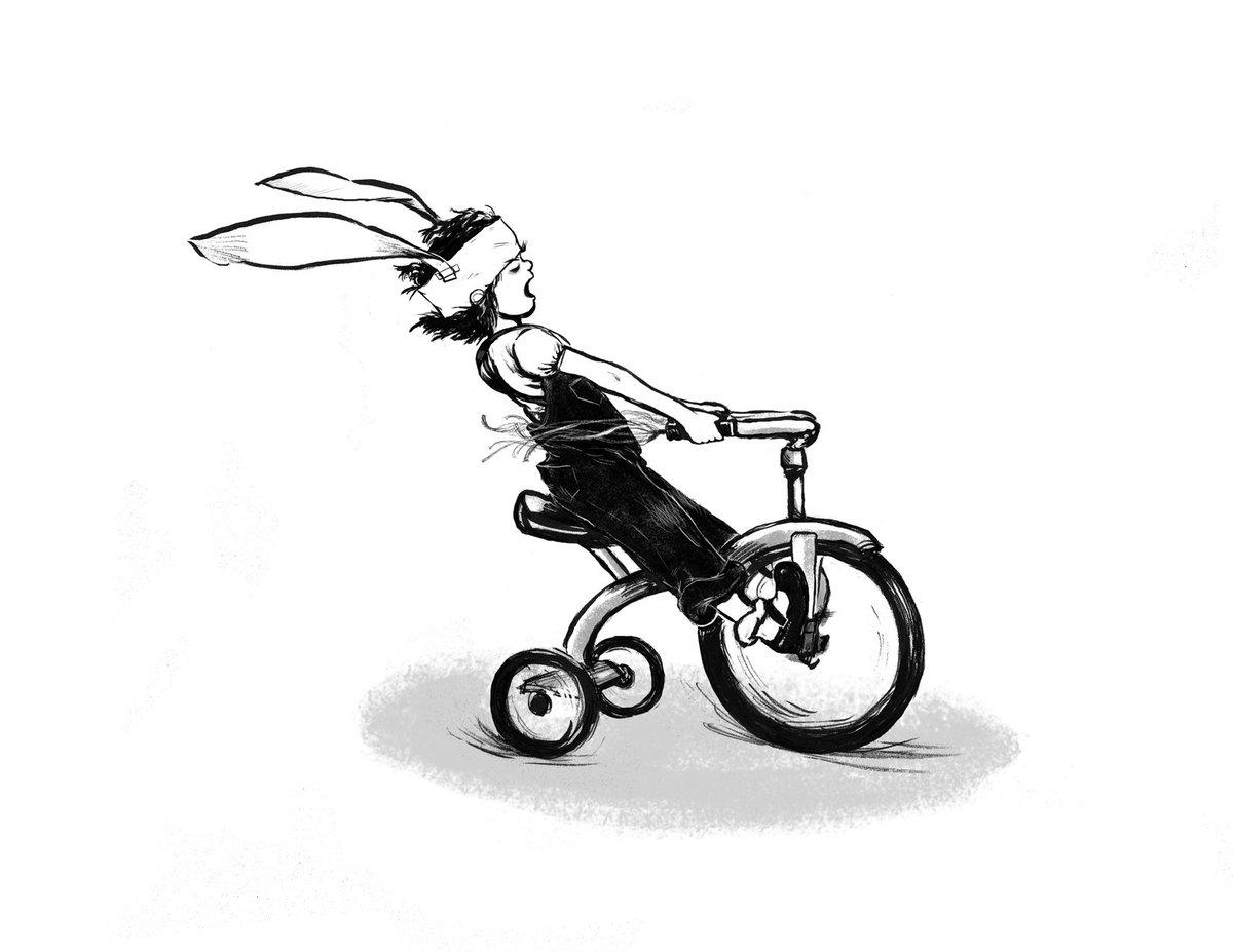 Ramona riding a bicycle