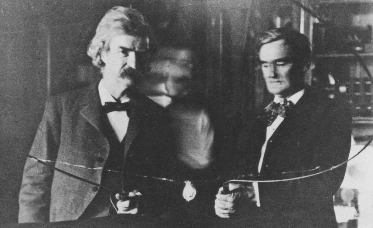 Mark Twain and Nikola Tesla in Tesla's Laboratory