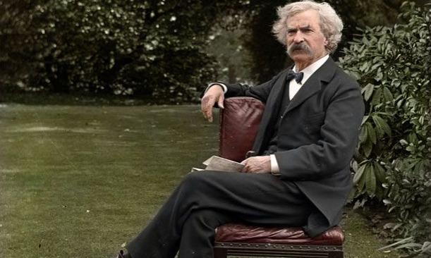 Mark Twain in garden circa 1900