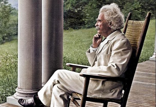 Mark Twain in rocking chair
