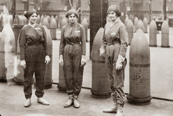 women working factory making TNT shells during WWI women military benefits female jobs 1920s