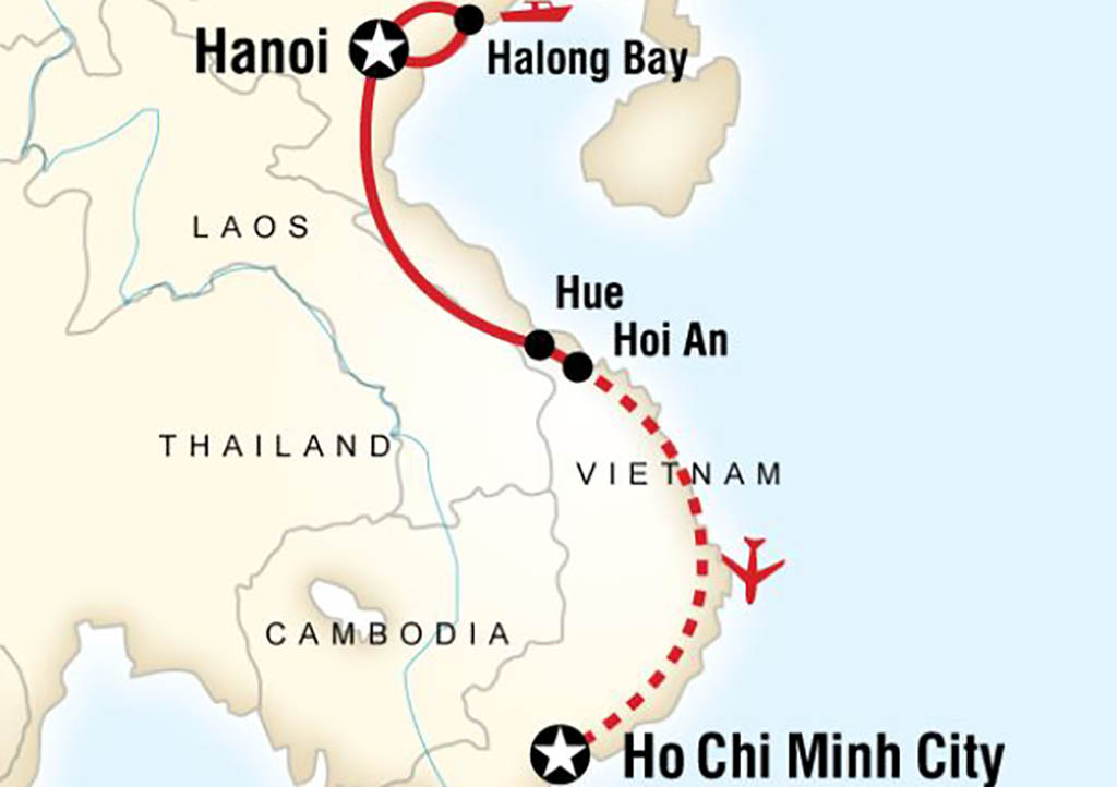 Map depicting the distance between Saigon and Ho Chi Minh
