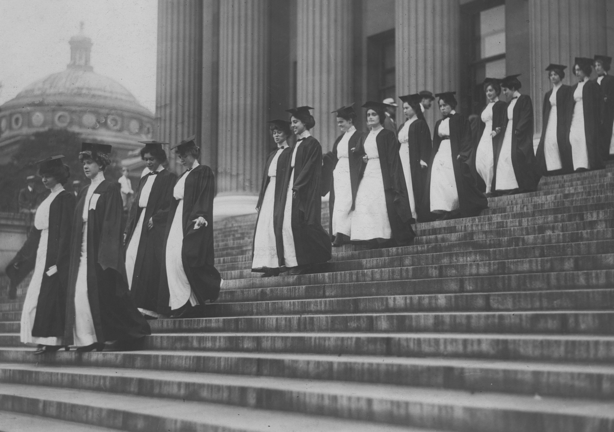 The commencement or graduation of seniors at Banard College circa 1920