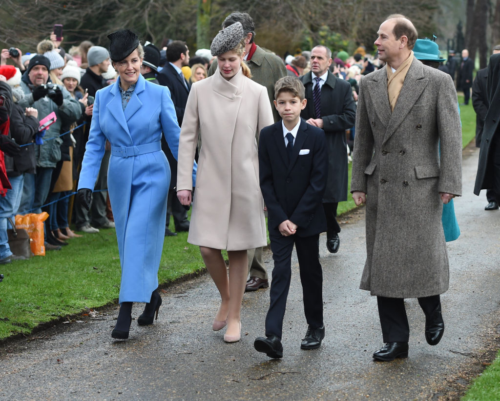 The Countess of Wessex, Lady Louise Windsor, James Viscount Severn and the Earl of Wessex arriving to attend the Christmas Day morning church service at St Mary Magdalene Church in Sandringham, Norfolk.