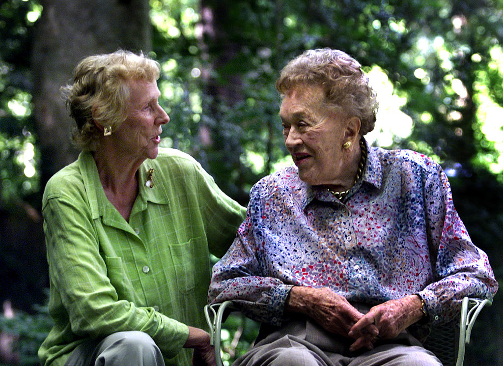 French chef Julia Child, right, chats with old friend, Pat Pratt in Cambridge, Mass