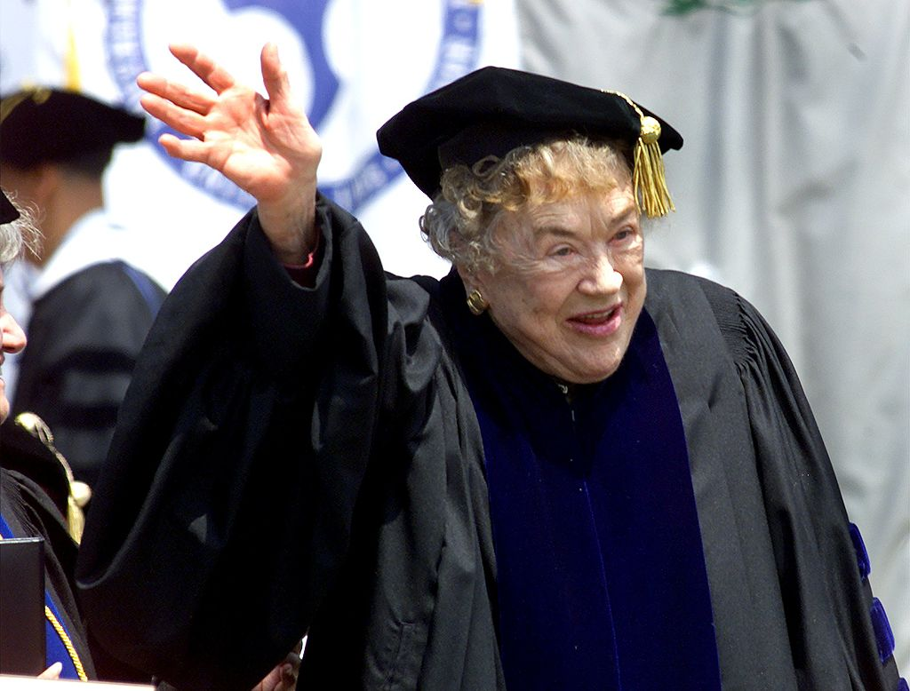 ulia Child waves to the crowd after she was awarded a Doctor of Humane Letters at UMass Dartmouth