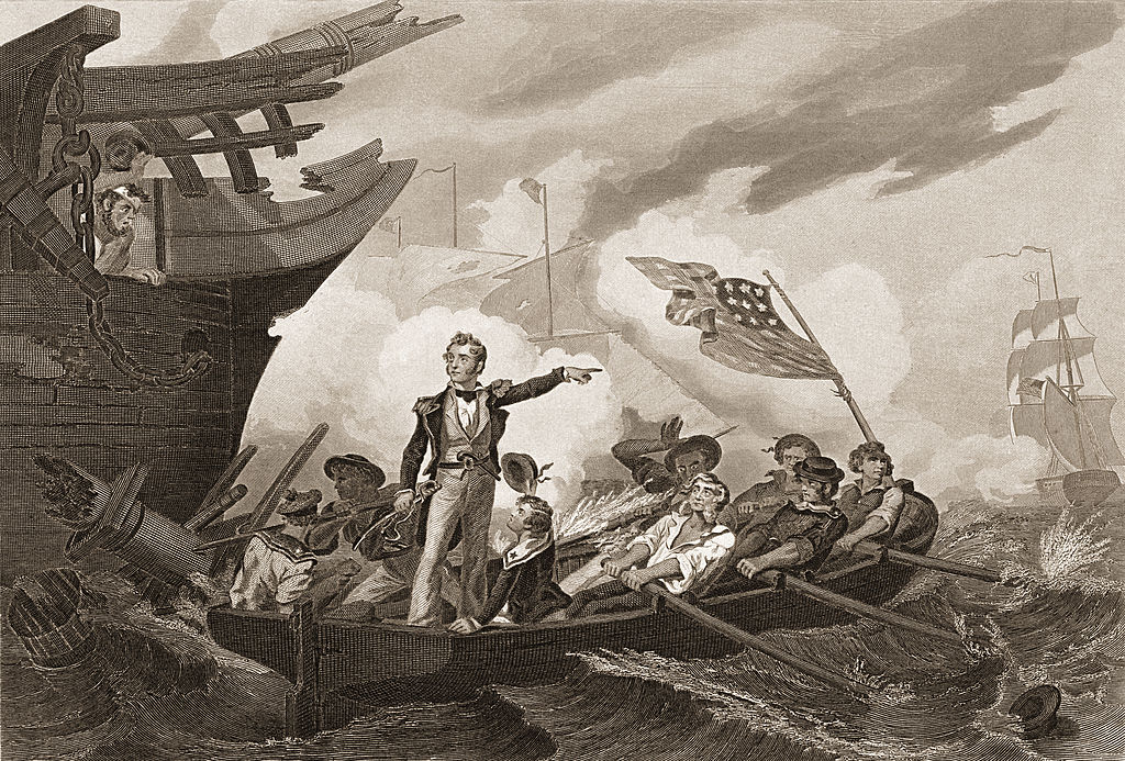 Commodore Perry as he leaves his sinking flagship 'Lawrence'