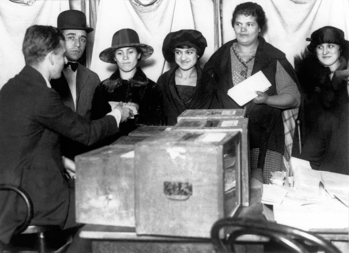 Women line up to vote for the first time in New York after the passage of the 19th Amendment 1920