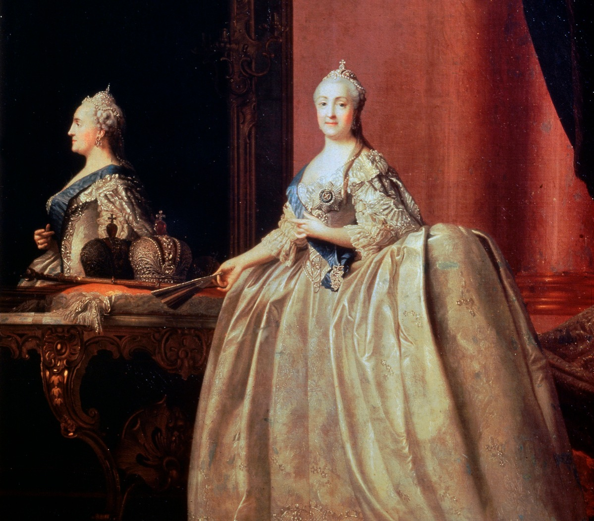 'Empress Catherine II before the Mirror', 1779. Catherine the Great (1729-1796) came to the throne in 1762. A German princess, she was chosen at the age of 14 to be the wife of Peter III of Russia.