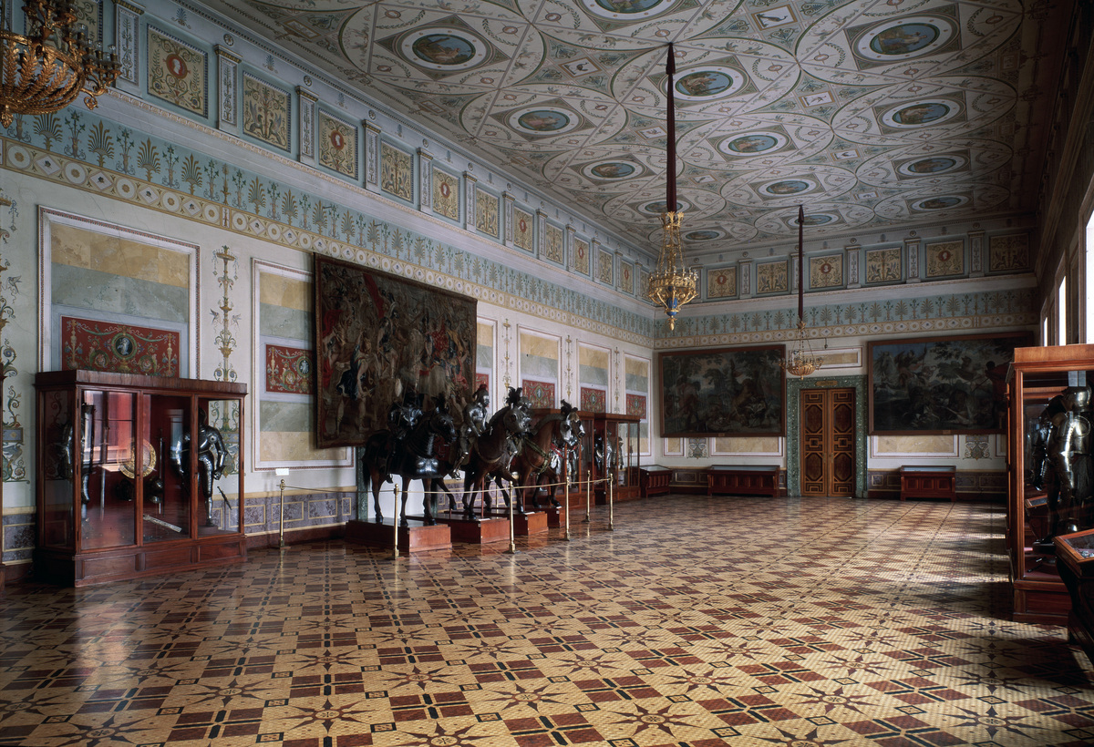 'The Knight Hall (Arsenal) of the Hermitage in Saint Petersburg' c19th century. Leo von Klenze (1784-1864). Russian Architecture. State Hermitage, St. Petersburg.