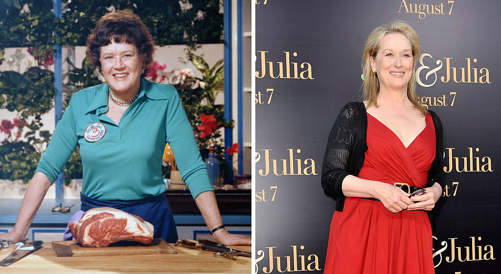 composite image a comparison has been made between Julia Child (L) and actress Meryl Streep. Actress Meryl Streep played American chef, author, and television personality Julia Child in a filmlike biopic 'Julie & Julia'