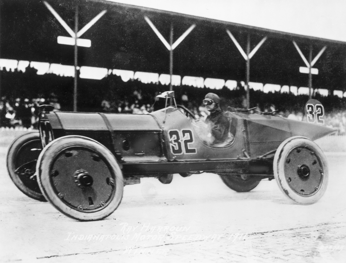 Ray Harroun driving his Marmon Wasp, was the first winner of the Indy Race.