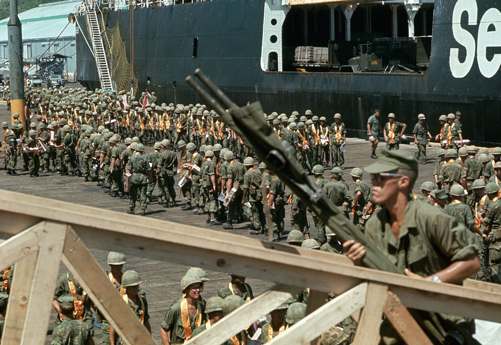 United States marines exiting ships