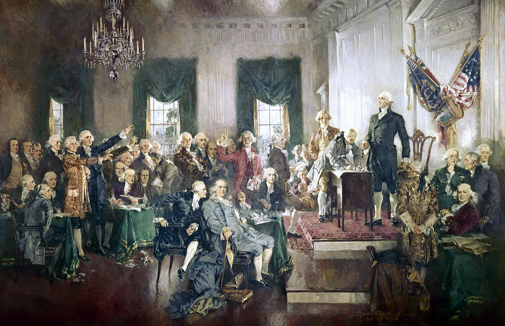 The Signing of the Constitution of the United States, with George Washington, Benjamin Franklin, and Thomas Jefferson