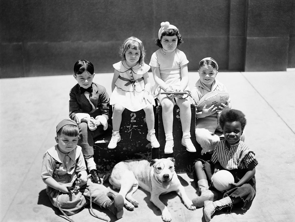 the little rascals with spanky holding a football