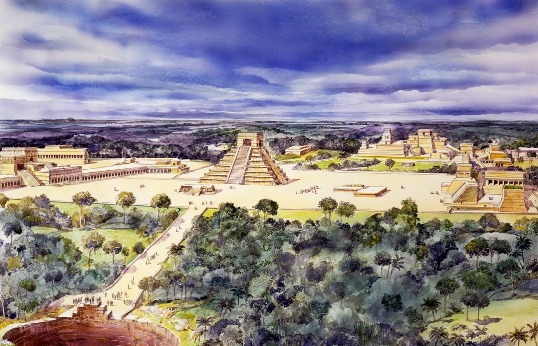 Drawing of the Chichen Itza infrastructure in Mexico, dating back to the 5th century B.C.
