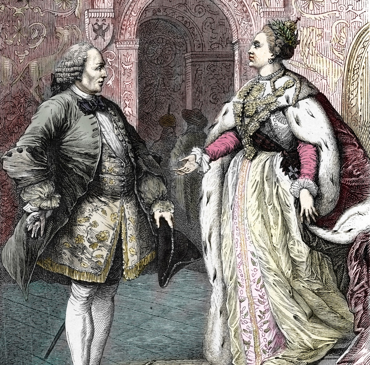 French philosopher Denis Diderot received by russian empress Catherine the Great in St Petersburg, 1773 - 1774) Engraving 19th century Private collection