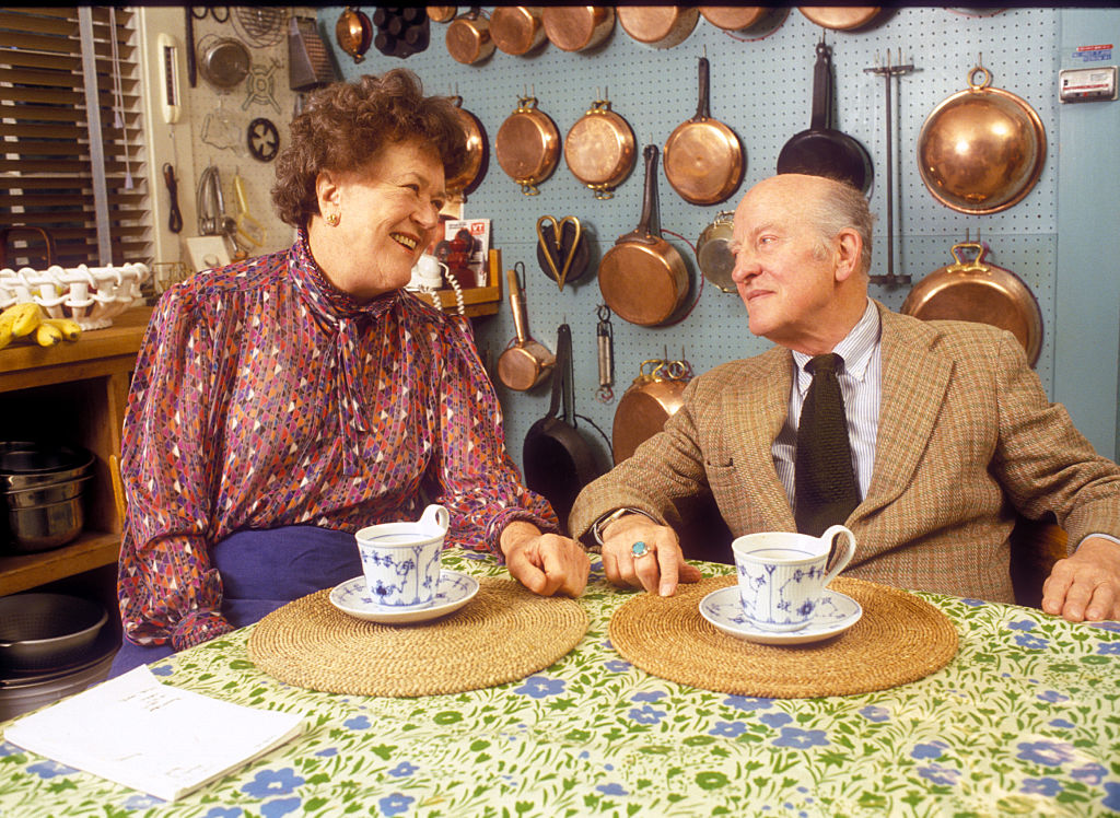 Celebrity chef Julia Child and her husband Paul Child at their home in Cambridge, Massachusetts