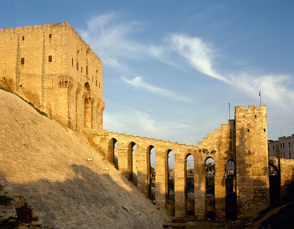 Syria, Citadel of Aleppo. Medieval fortified.