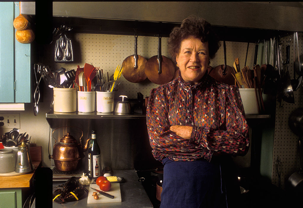 Celebrity chef Julia Child at her home in Cambridge, Massachusetts