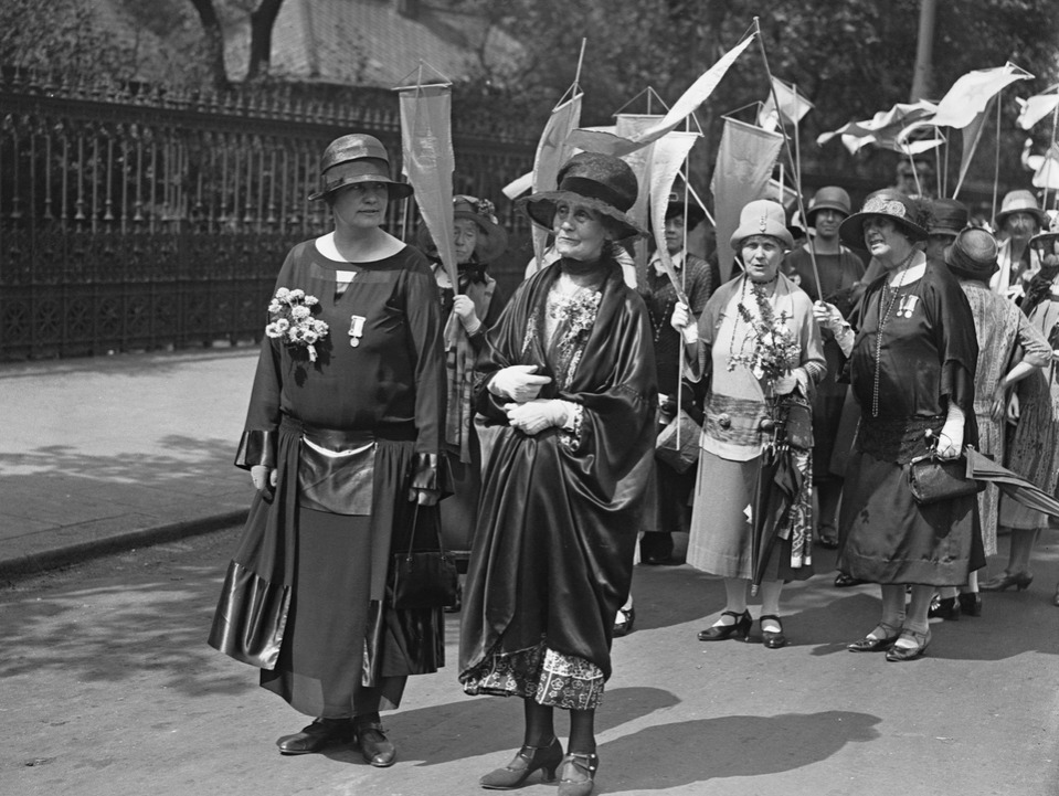 British suffragette leaders Margaret Mackworth, 2nd Viscountess Rhondda (1883 - 1958, left) and Emmeline Pankhurst (1858 - 1928) during the Equal Political Rights Demonstration