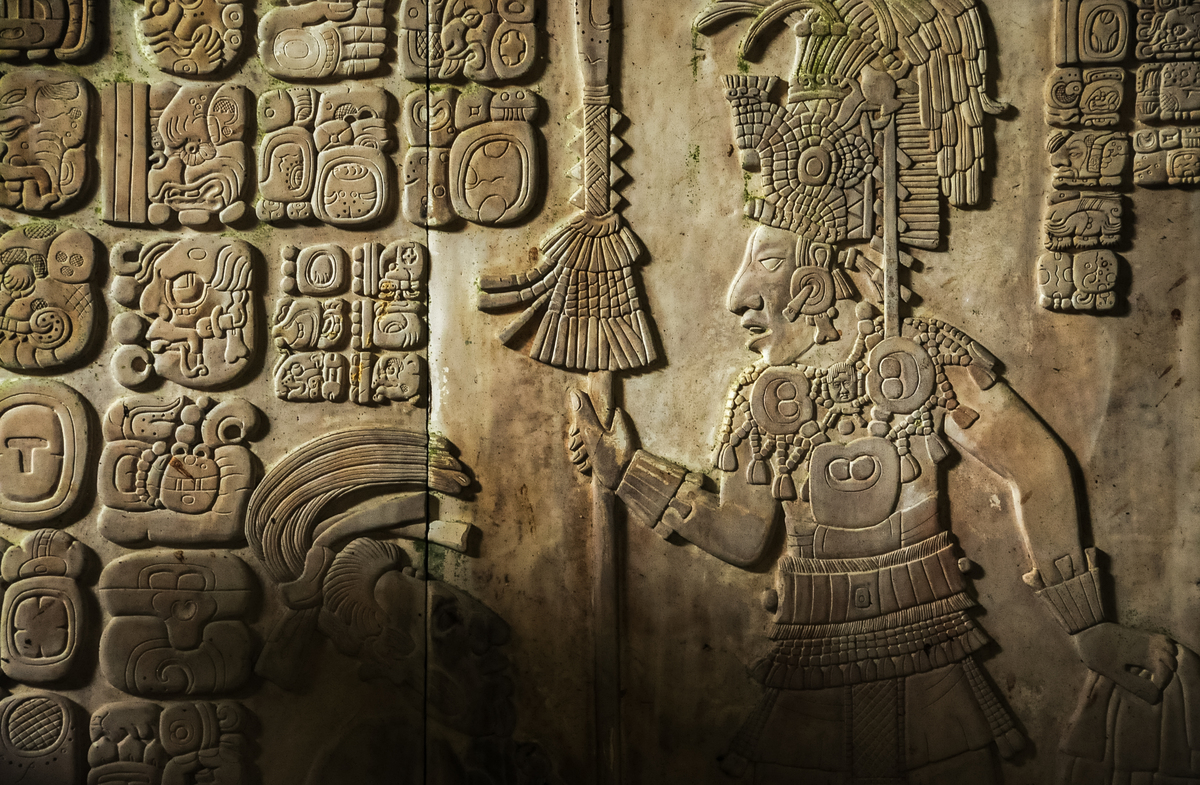 Mayan hieroglyphic carving in the ancient Mayan city of Palenque, Mexico.
