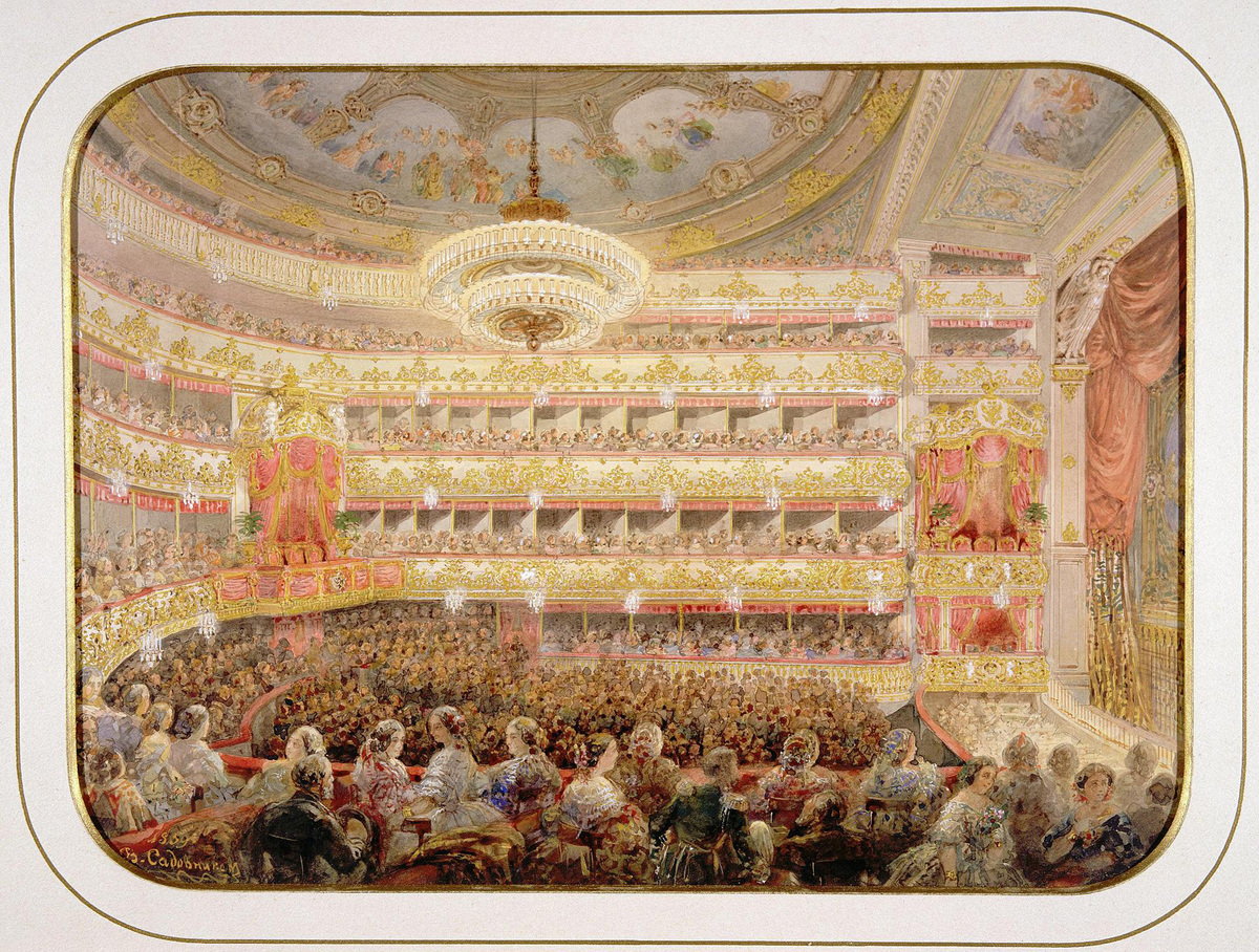 The Auditorium of the Saint Petersburg Imperial Bolshoi Kamenny Theatre. Found in the Collection of State Hermitage, St. Petersburg.