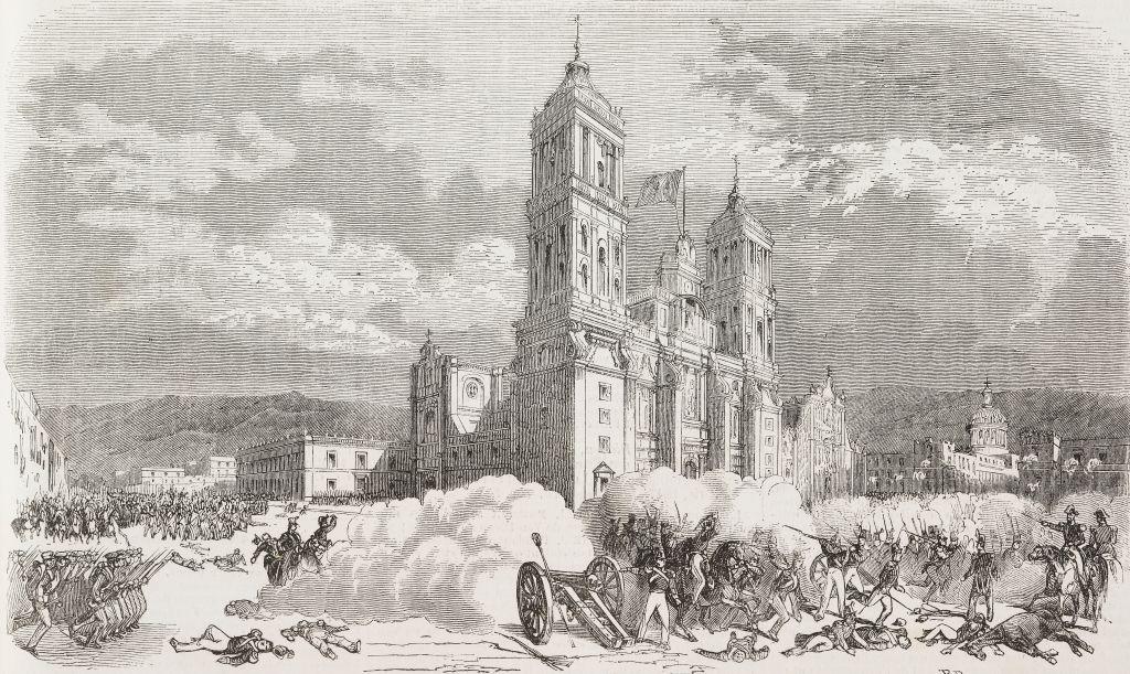 American troops conquering Mexico City, Mexico