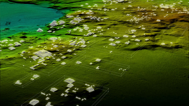 LiDAR mapping of Mayan structures and highways