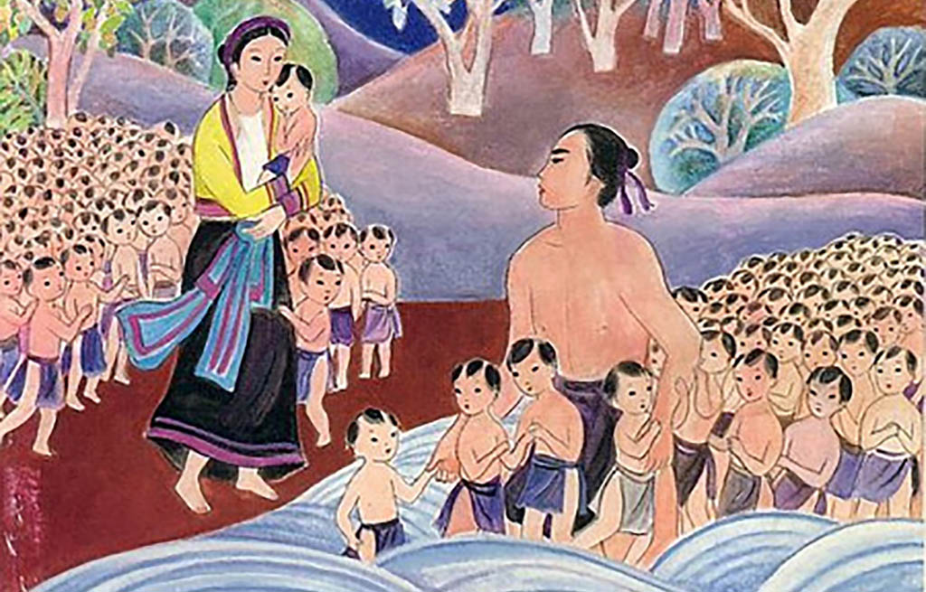 Drawing of Vietnamese origin story