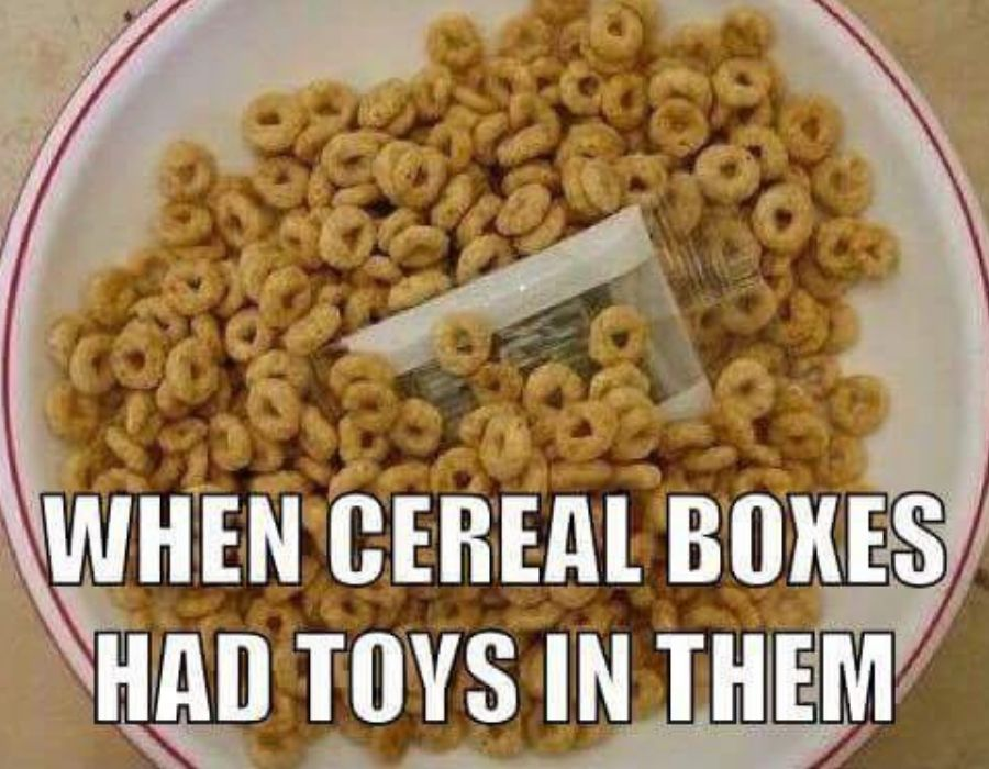 cereal boxes with toys not anymore