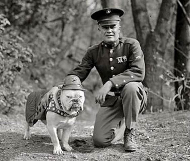 marine with dog looks happy and proud