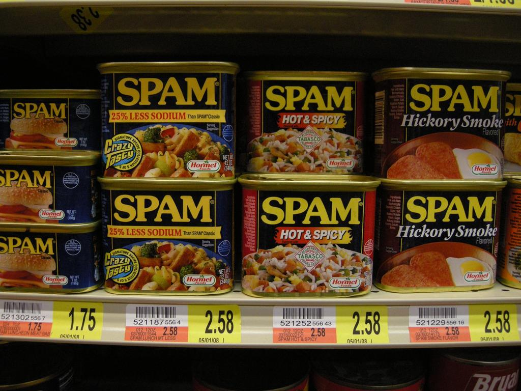 cans of spam in the supermarket