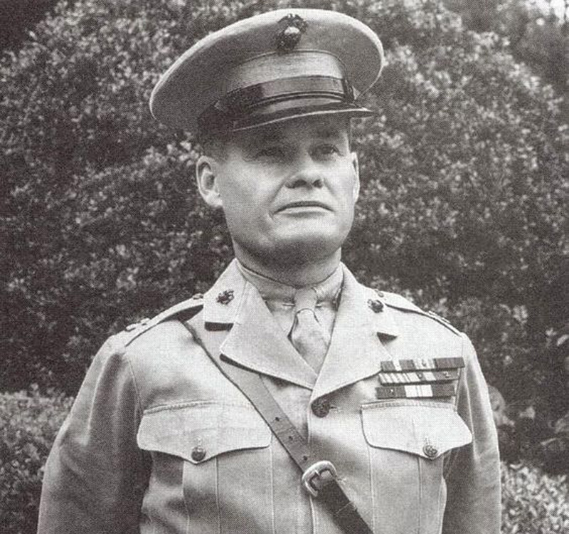 Chesty Puller posing proudly in full uniform