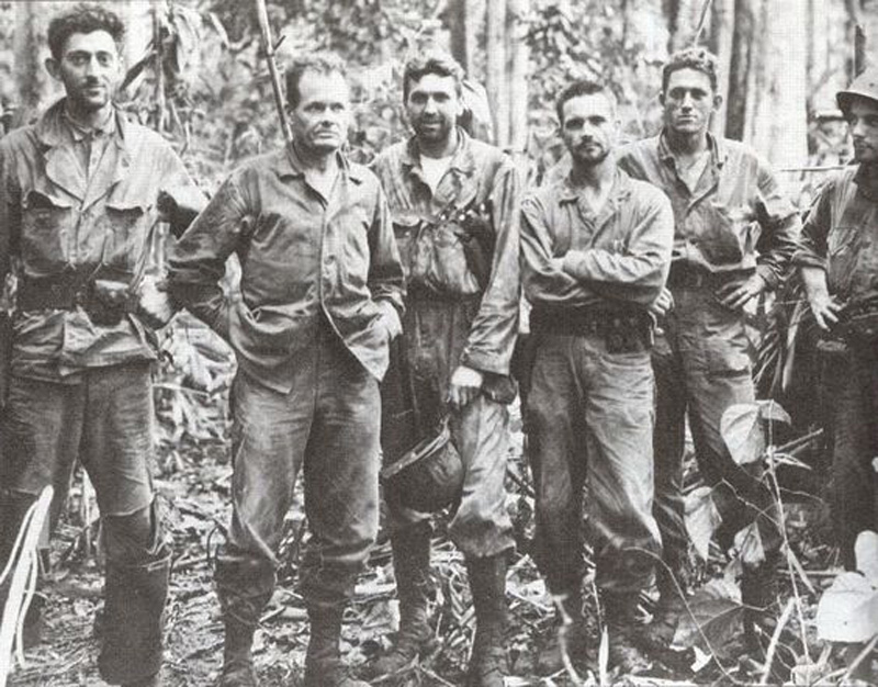 Chesty Puller (second from left) with the senior staff of the 7th marines