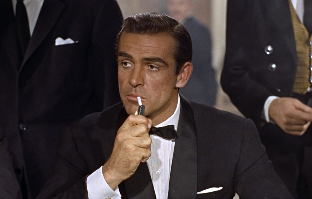 James Bond smoking a cigarette